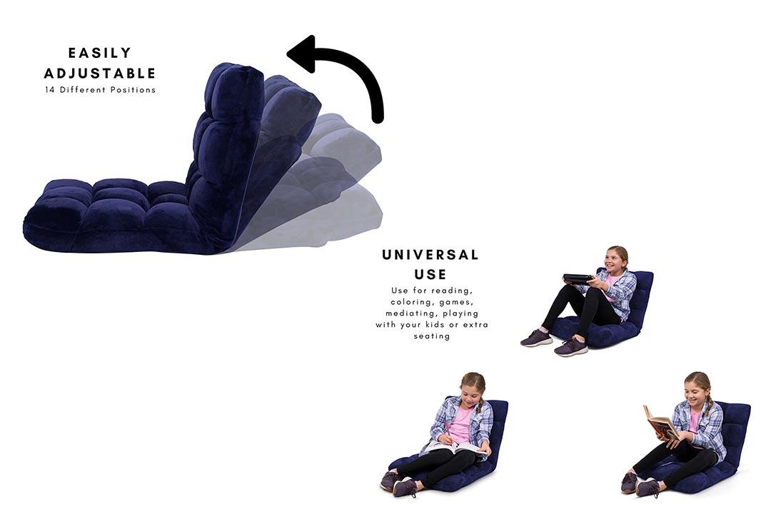 BIRDROCK HOME Adjustable 14-Position Memory Foam Floor Chair