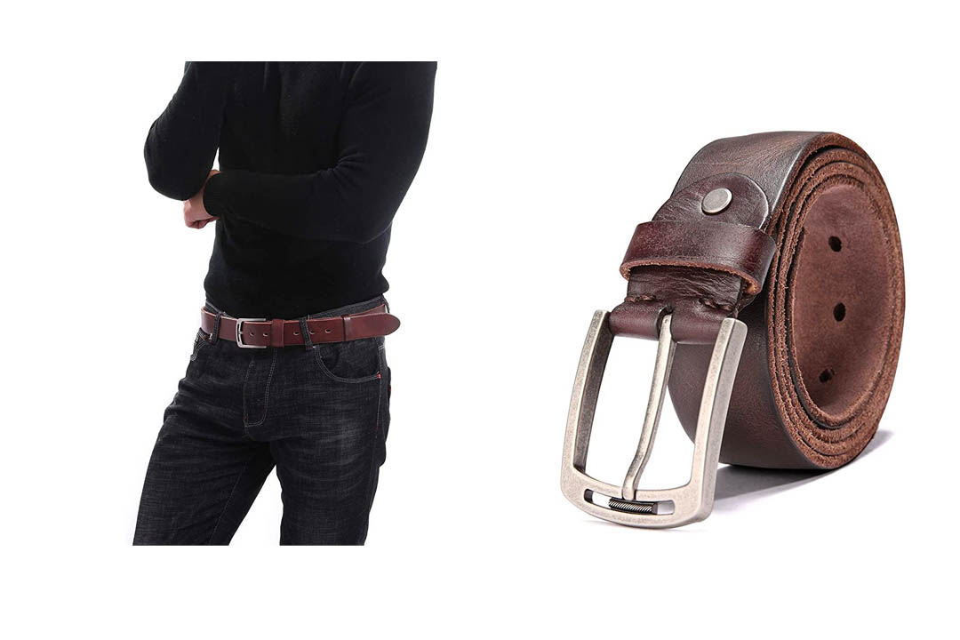 KEECOW Men's 100% Italian Cow Leather Belt