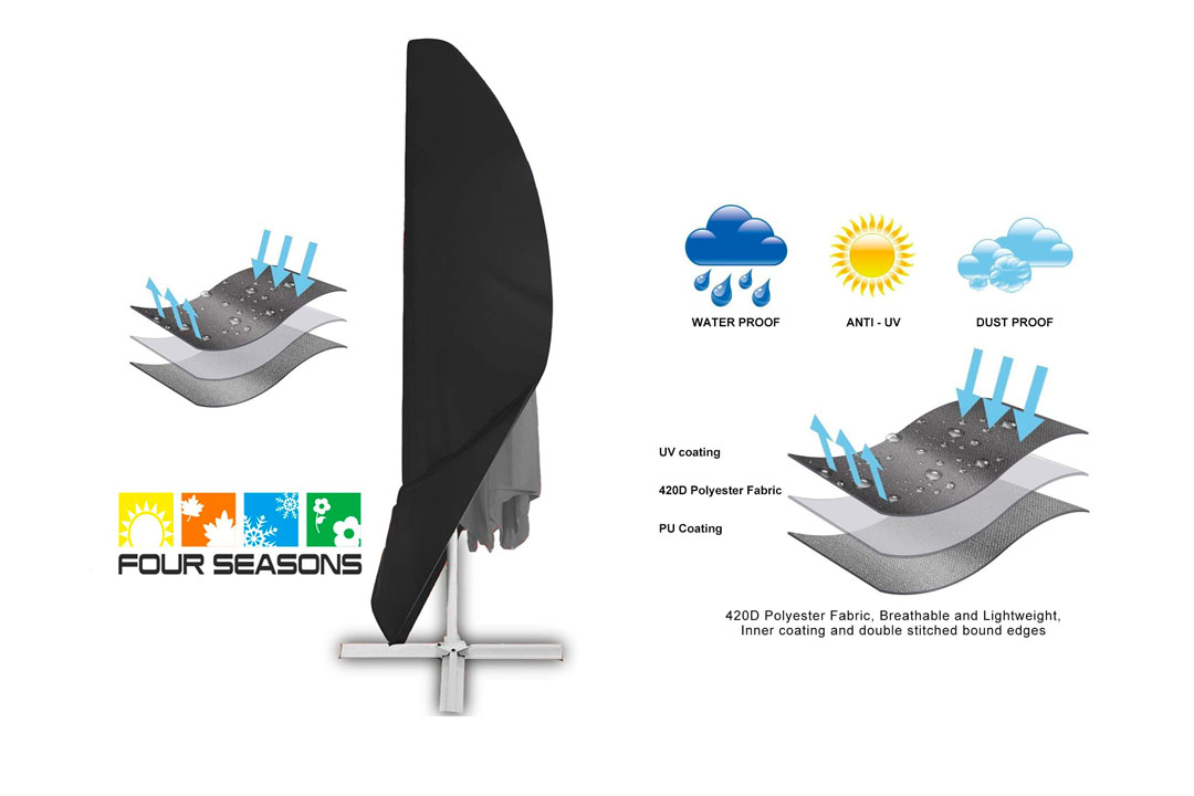 Offset Umbrella Cover, Patio Umbrella Cover for 9Ft to 13 Ft Cantilever