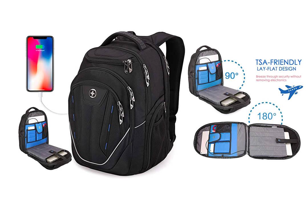 TSA Friendly, Swissdigital Water-Resistant Large Backpack