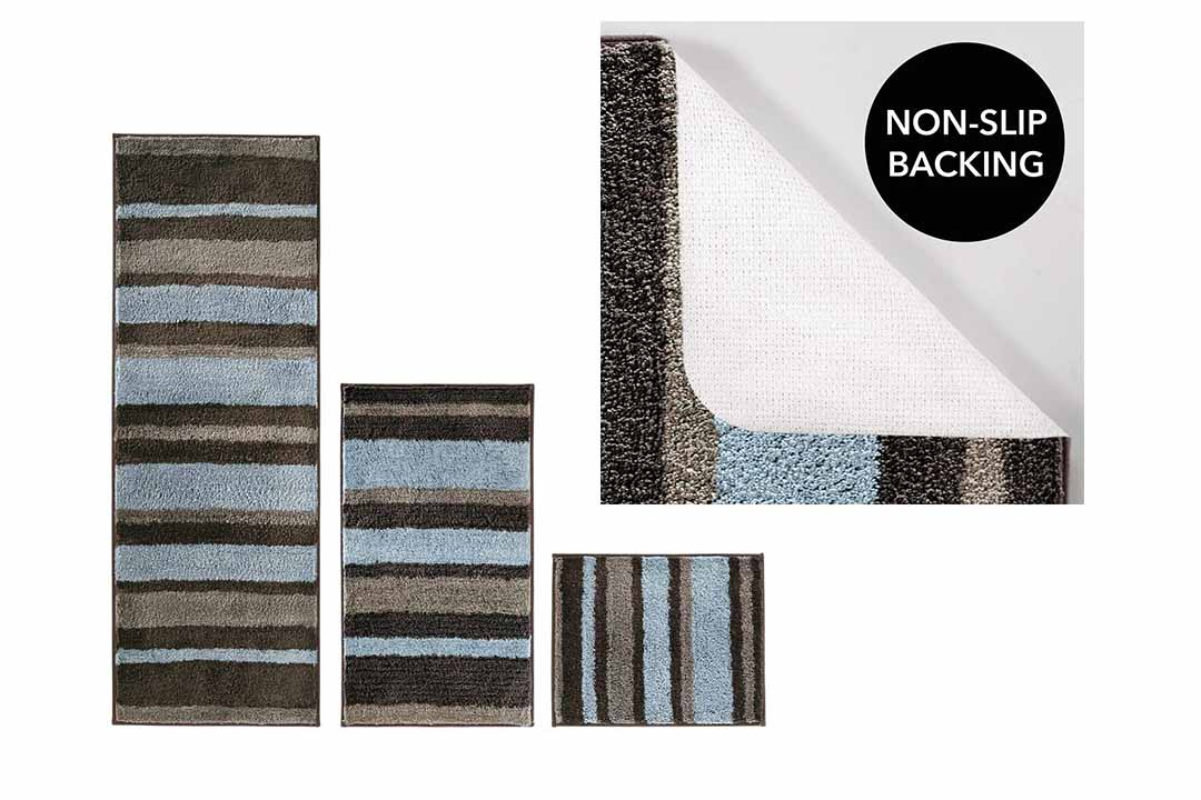 mDesign Striped Microfiber Polyester Spa Rugs