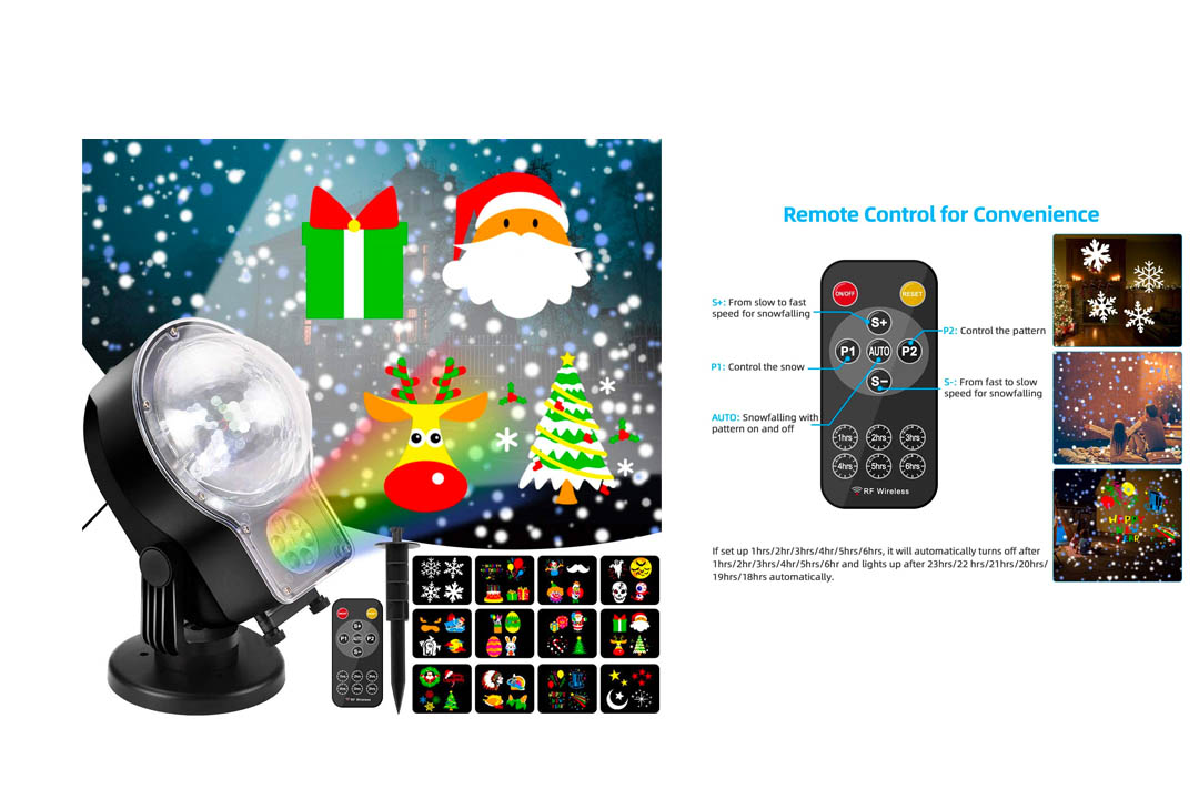 Christmas Projector Lights Outdoor 2-In-1 Snowfall with Moving Patterns