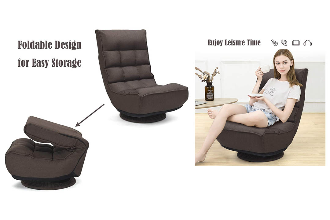 Giantex 360 Degree Swivel Game Chair Folding 4-Position Adjustable Floor Lazy Sofa Chair