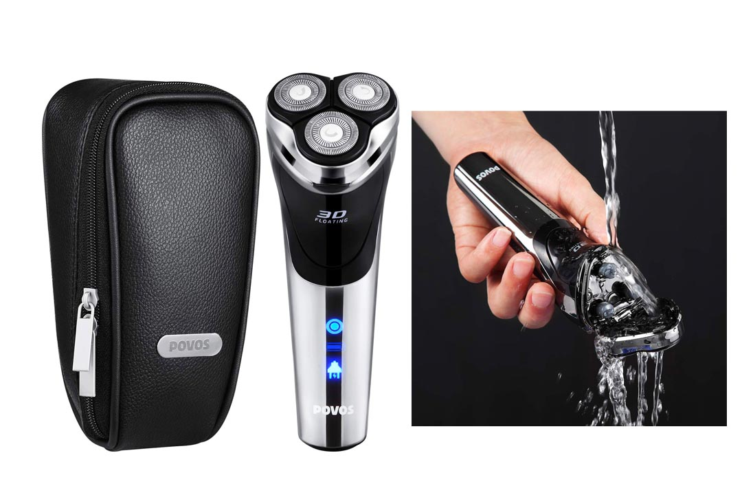 POVOS USB-Charged Men's Electric Razor Rotary Shaver