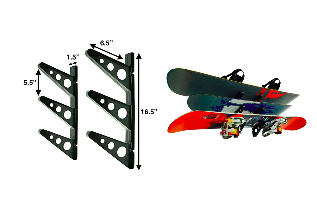 StoreYourBoard Snowboard Multi-Wall Rack, Home Storage & Organization Horizontal Mount