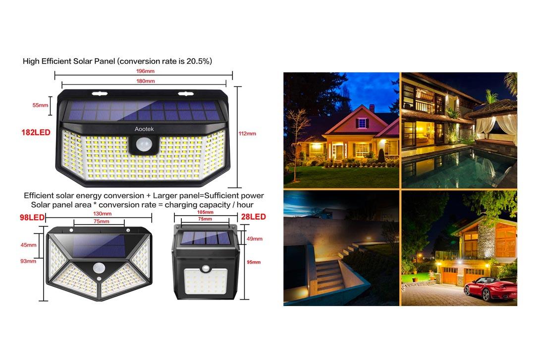 Aootek Solar outdoor motion sensor lights