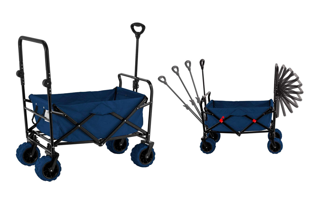 Blue Wide Wheel Wagon All Terrain Folding Collapsible Utility Wagon with Push Bar