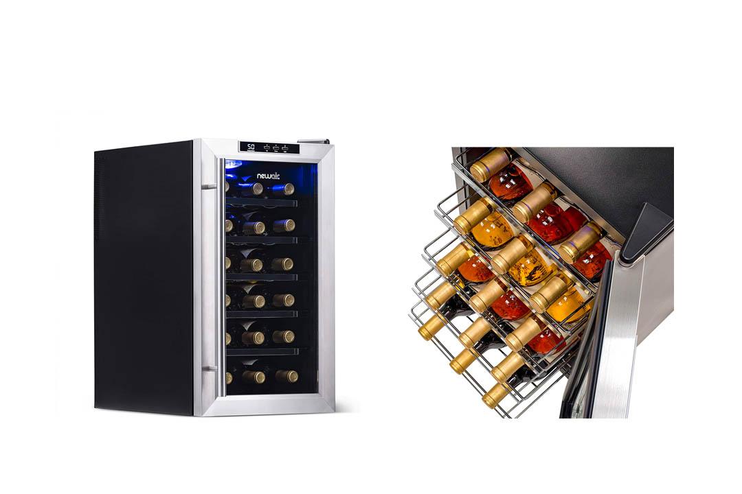 NewAir Wine Cooler and Refrigerator 18 Bottle Freestanding Wine Chiller Fridge