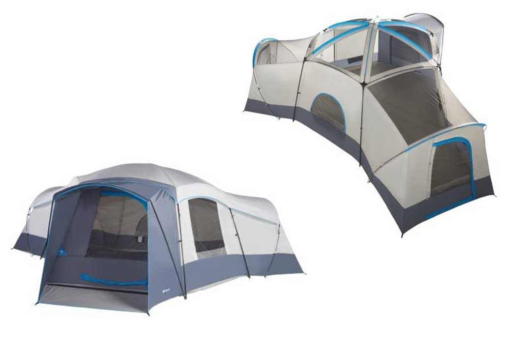 Ozark Trail 16 Person 23.5' x 18.5' with 3 doors and 3 rooms Cabin Tent in Grey/Blue