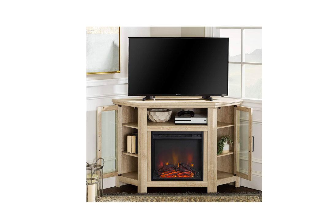 WE Furniture Corner Fireplace TV Stand.