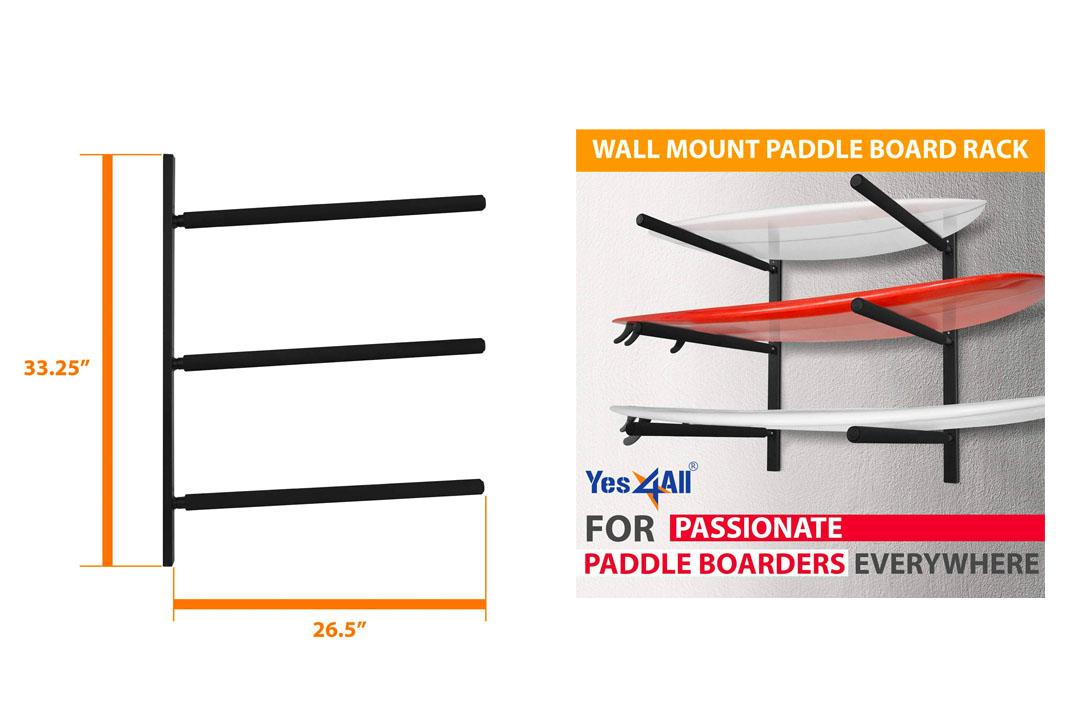 Yes4All Heavy Duty Steel 3 Level Paddle Board Racks SUP Storage Wall Mount Hanger