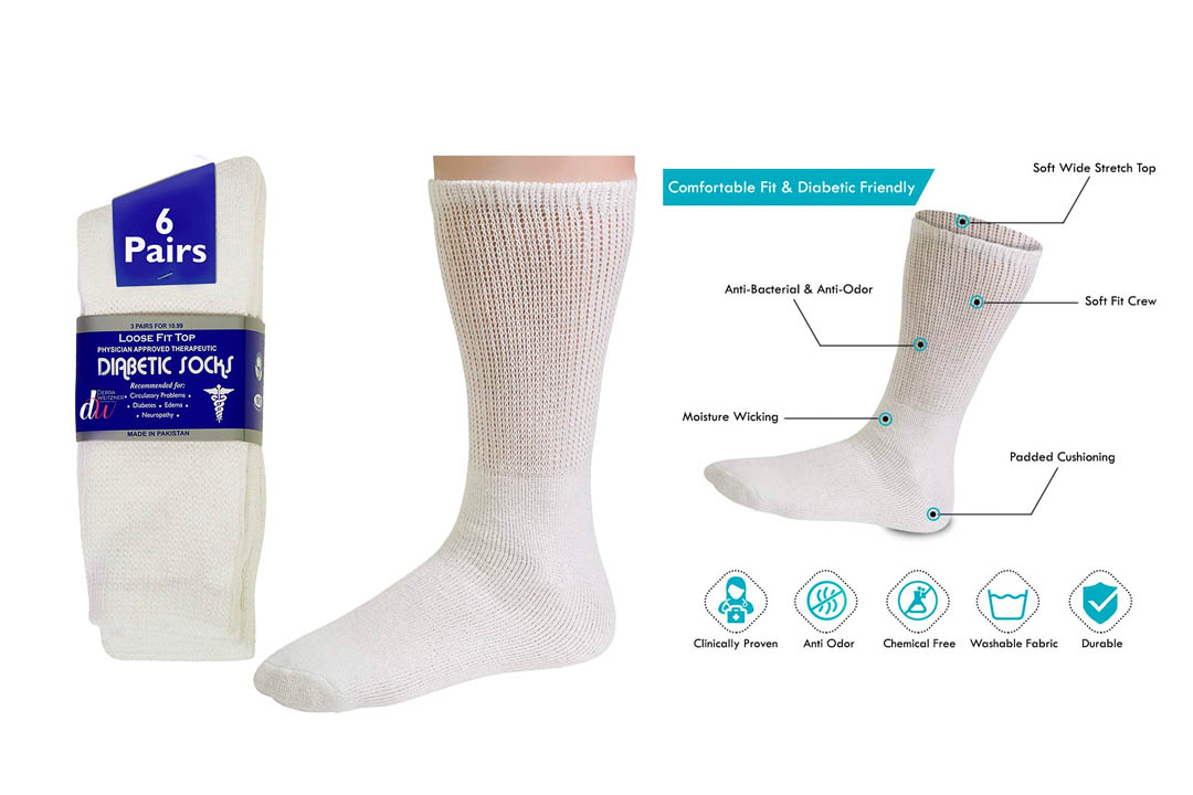 Diabetic socks Mens cotton 6 pairs