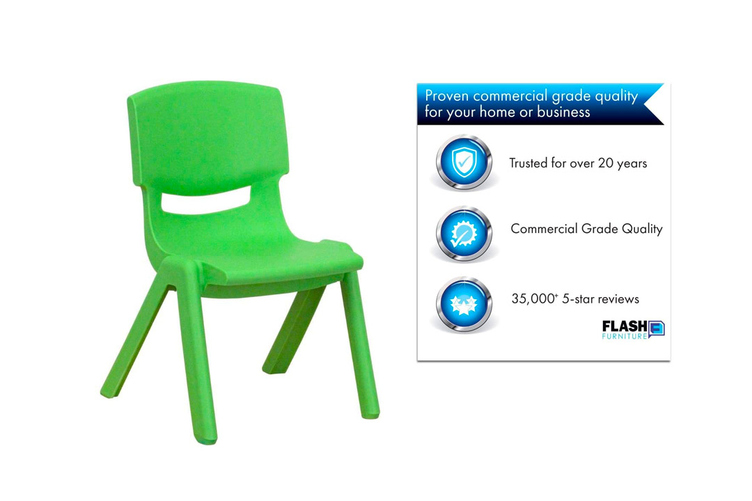 Flash Furniture Green Plastic Stacking Chairs