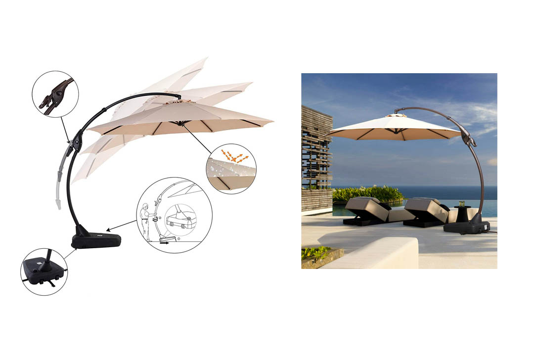 Grand Patio Deluxe Napoli Curvy Aluminum Offset Umbrella