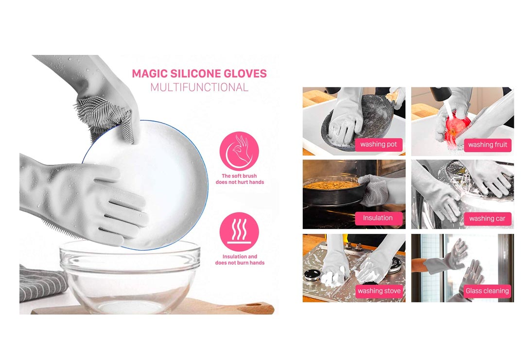 NIROLLE Reusable Silicone Dishwashing Gloves