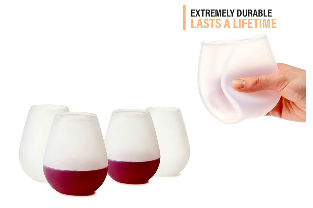 Set of 4 - Unbreakable Outdoor Rubber Wine Cups
