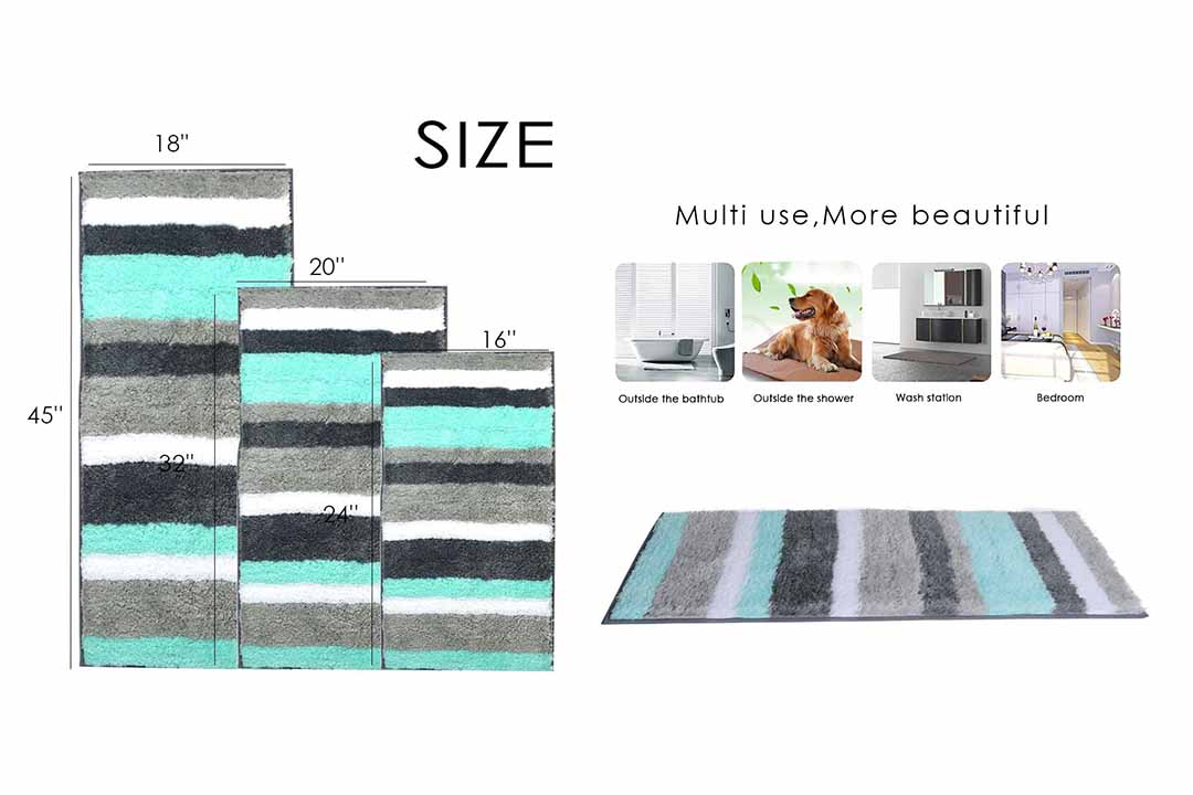 Uphome Colorful Microfiber Bathroom Shower Accent Rug