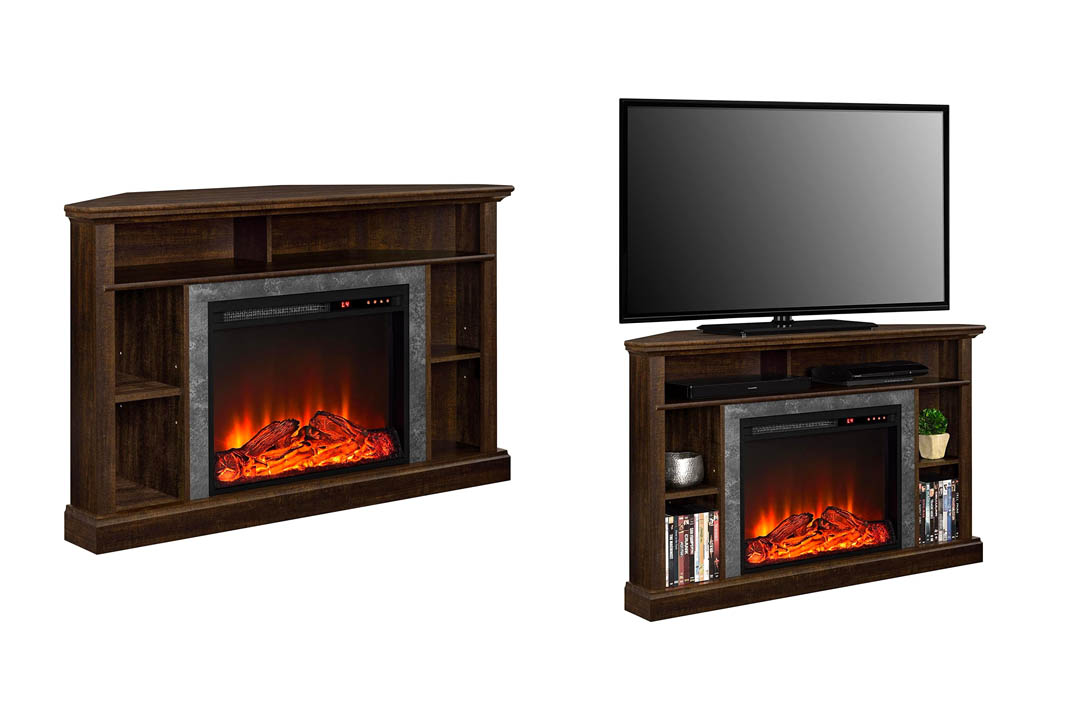 Ameriwood Home Overland Electric Corner Fireplace stand