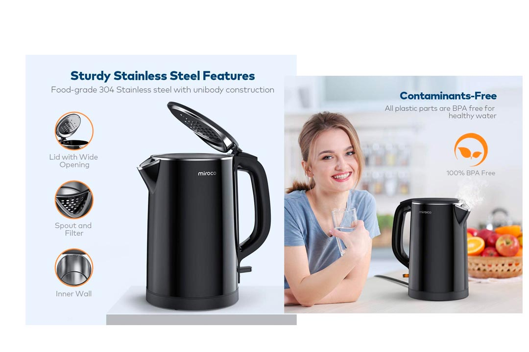 Electric Kettle, Miroco 1.5L Double Wall