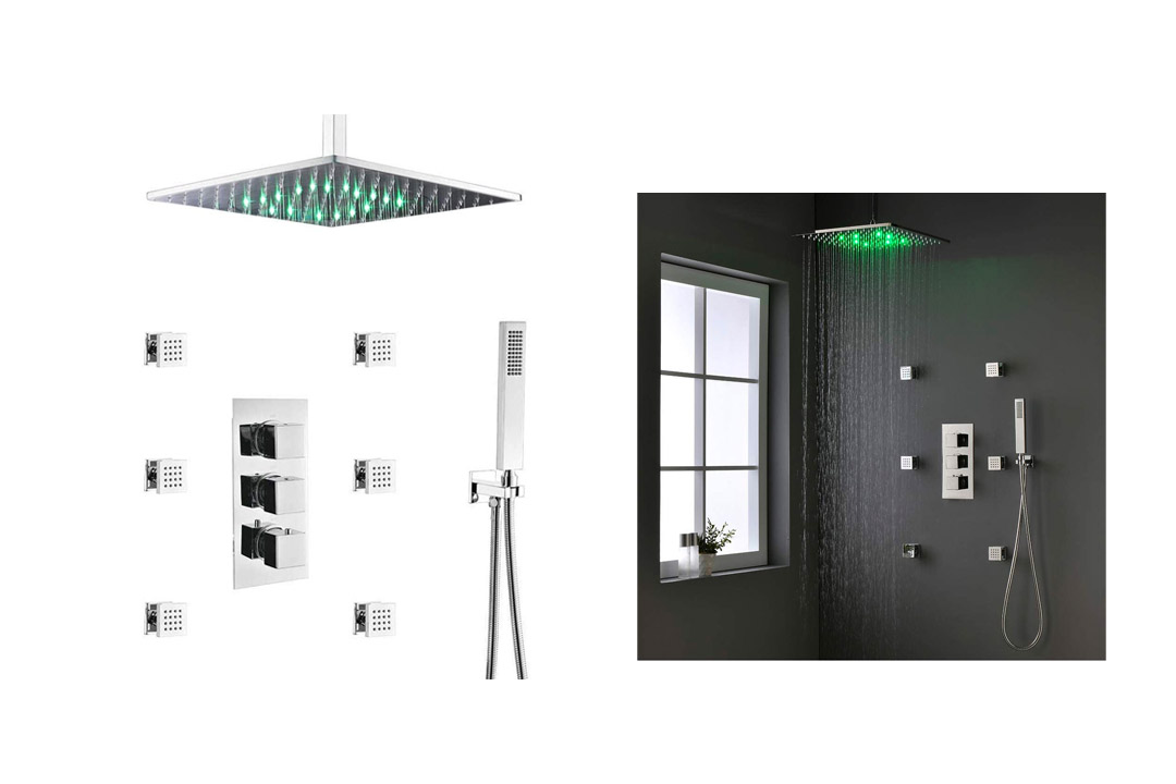 HOMEDEC Thermostatic LED 16inch shower Faucet