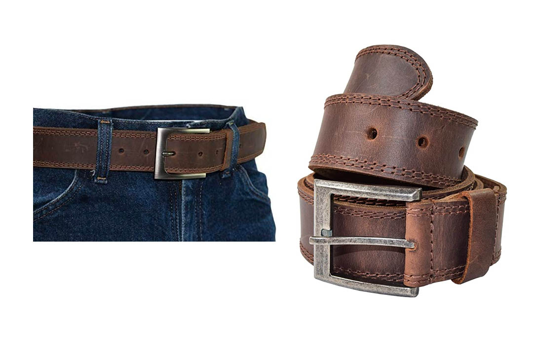 Hide & Drink Men's Two Row Stitch Leather Belt