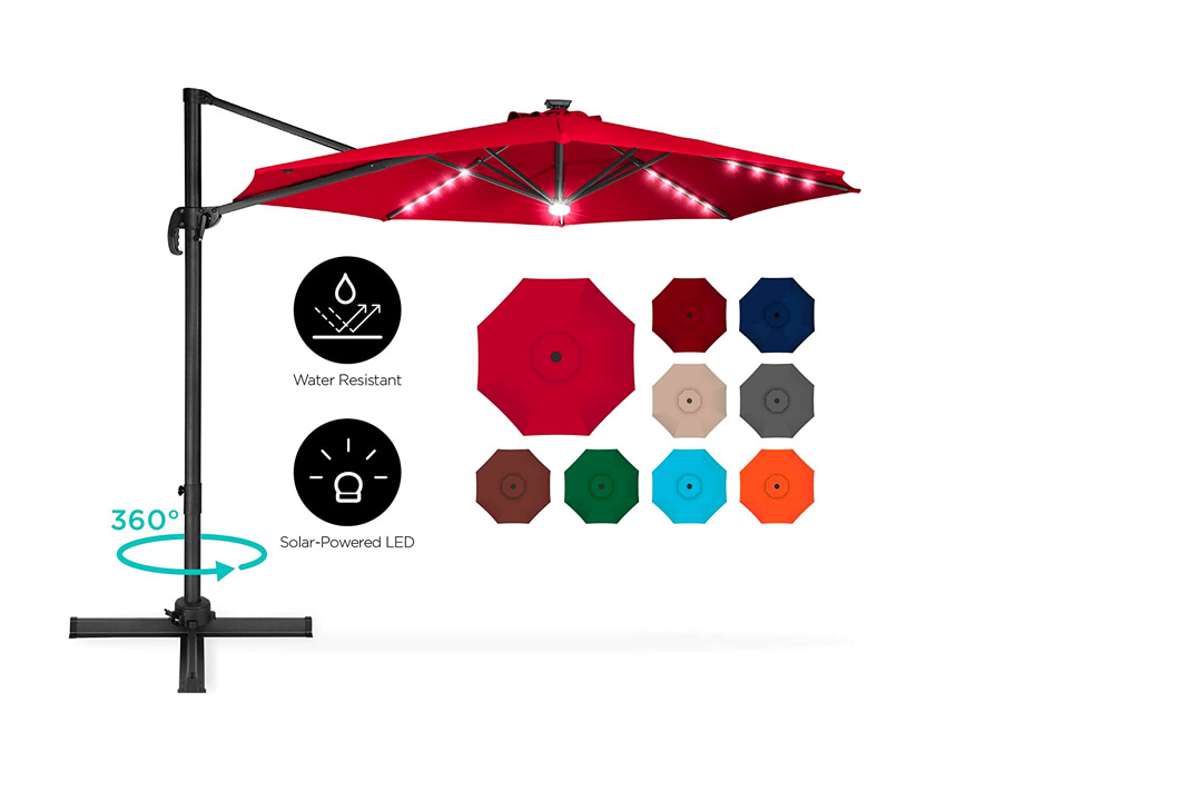 Best Choice Products 10 Ft Solar LED Aluminium Offset Patio Umbrella