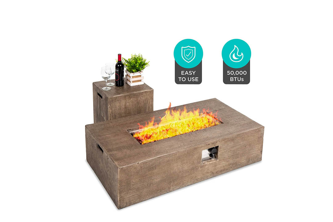 Best Choice Products Wood Finish Propane Fire Pit