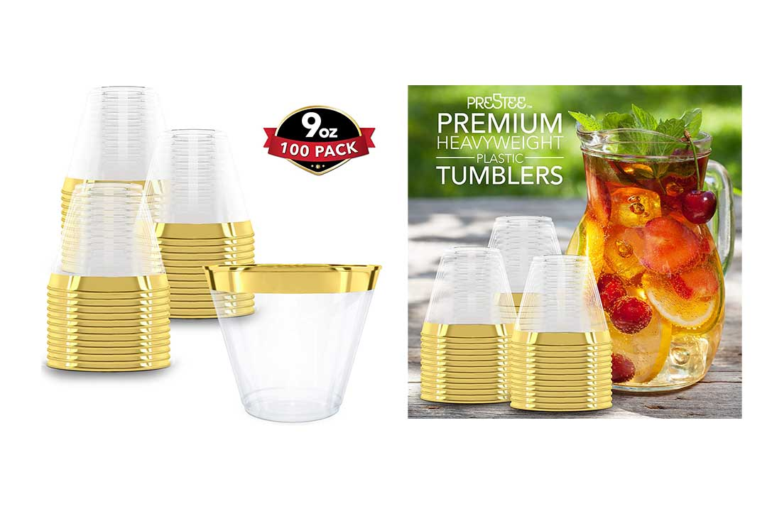 Clear Plastic Cups with Gold Rim