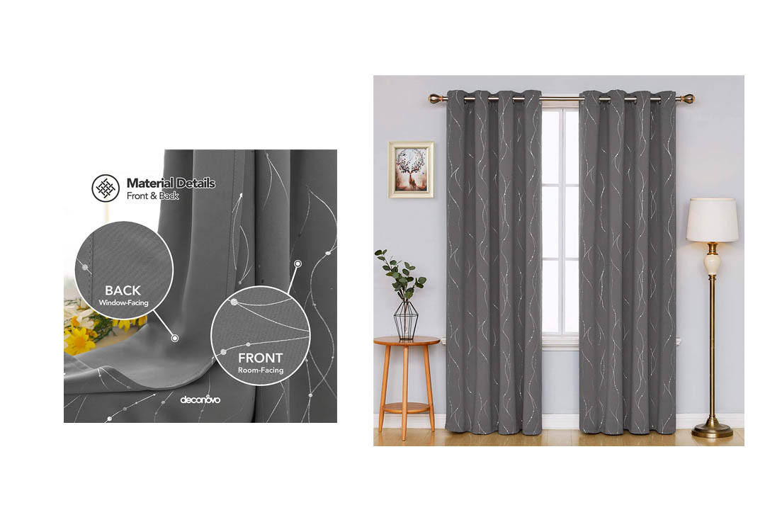 DECONOVO Blackout Curtains Grommets with Dot Pattern