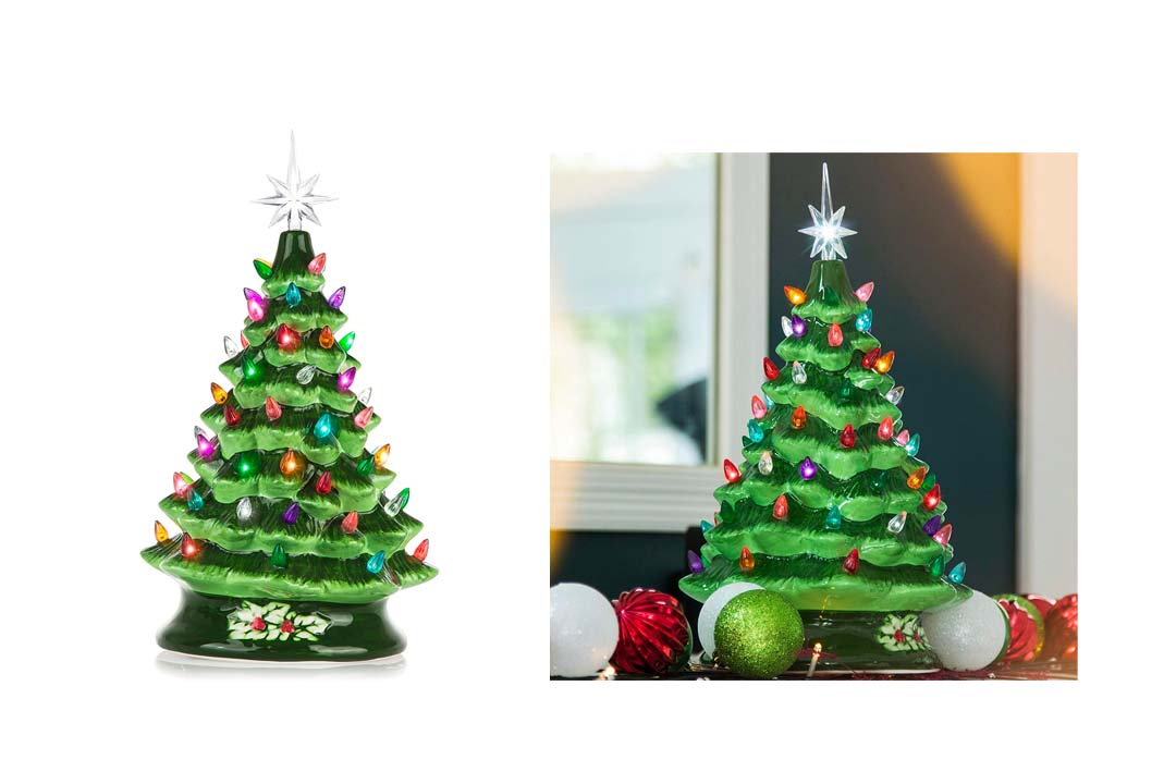 Green Decorative Christmas Tree with Lights
