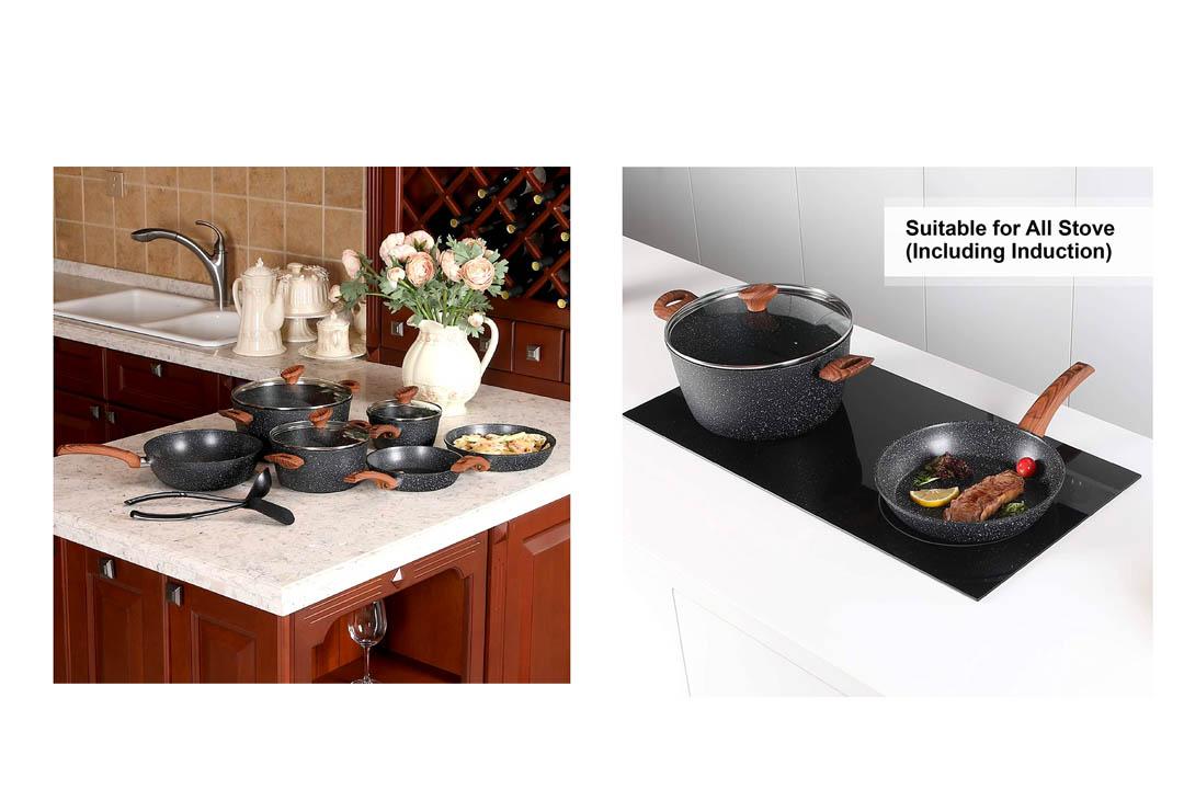 Kitchen Academy 12 Piece Nonstick Granite
