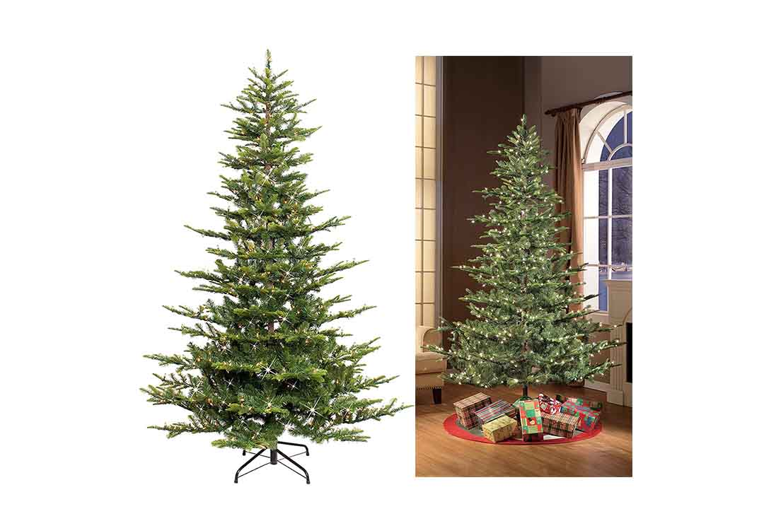 Puleo International 7.5 Ft Pre-Lit Aspen Fir artificial Christmas tree