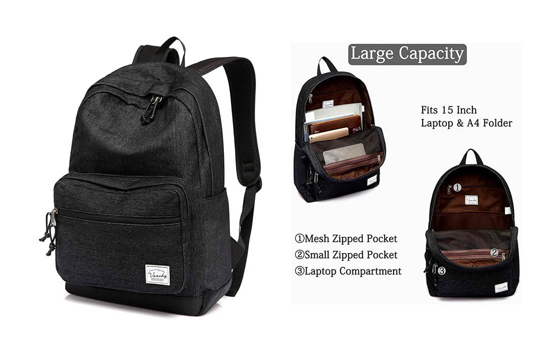 School Backpack, Vaschy Unisex Slim Lightweight Water-resistant Backpack