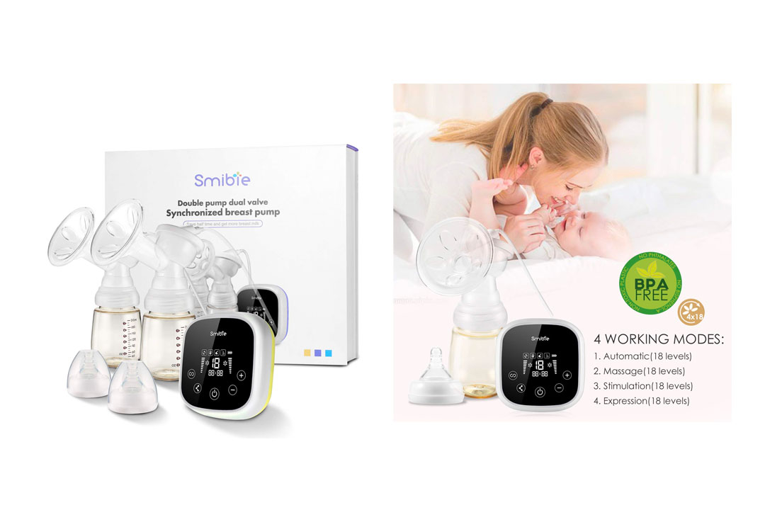 Smibie Double Electric Breast Pump, Dual Motor Milk Pumps with 4 Mode & 18 Levels