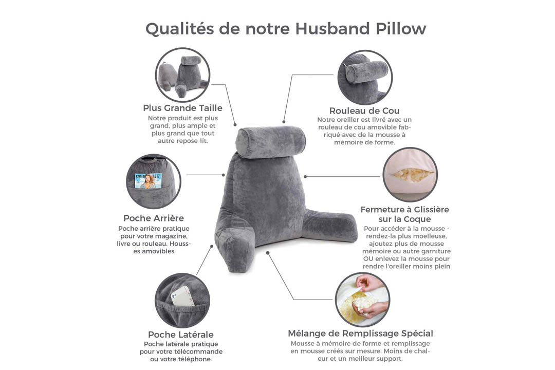 Husband Pillow Bed Rest Pillow with Arms