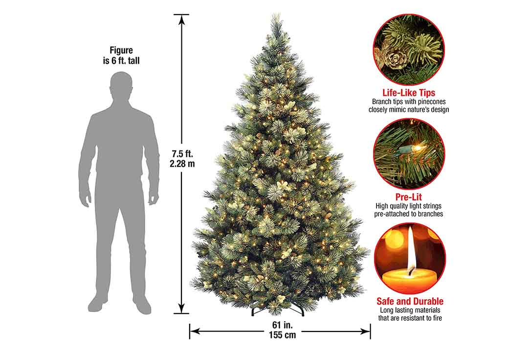 National tree 7.5 Ft Carolina Pine Artificial Christmas Tree