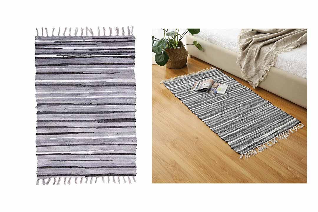 Ojia Cotton Reversible Rag Rug Hand Woven Multi Color Striped Chindi Area Rug