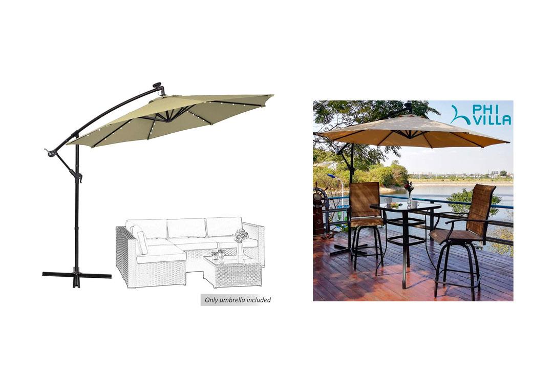 PHI VILL Heavy Duty Offset Patio Umbrella Canopy Cover