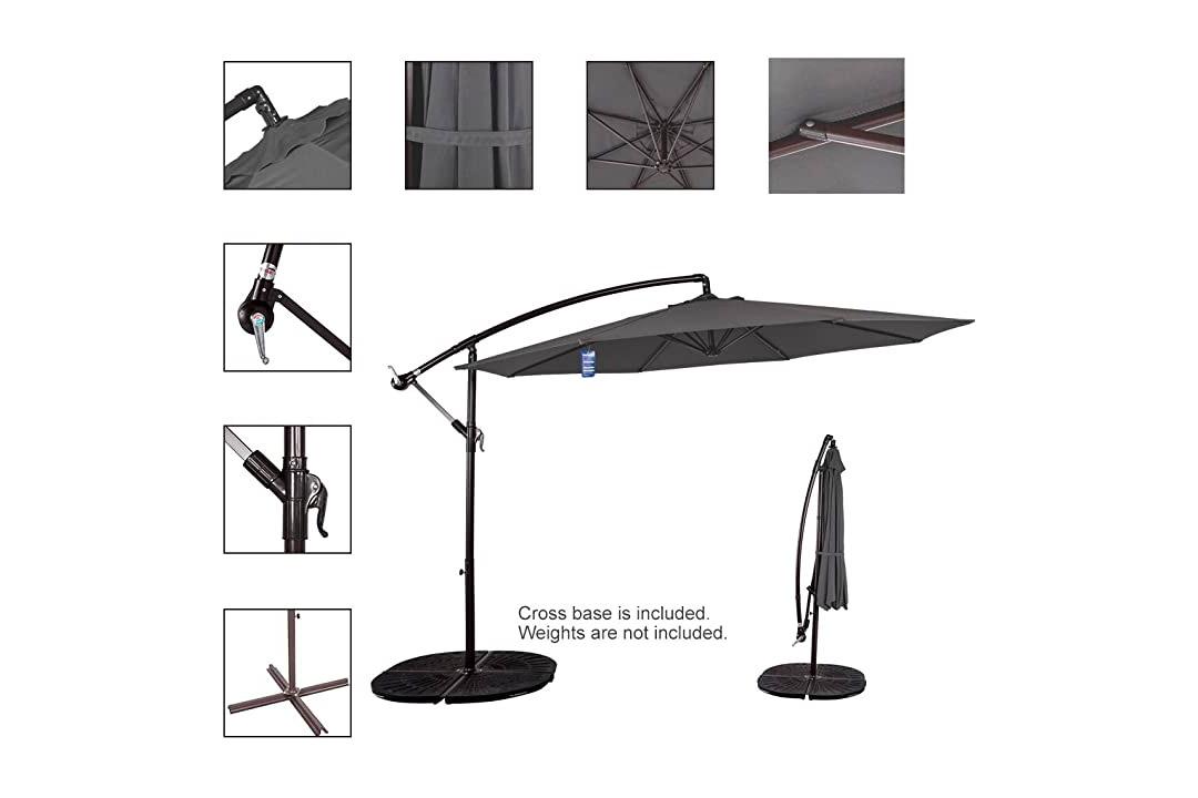 Sundale Outdoor 10 Ft Aluminium Offset Patio Umbrella