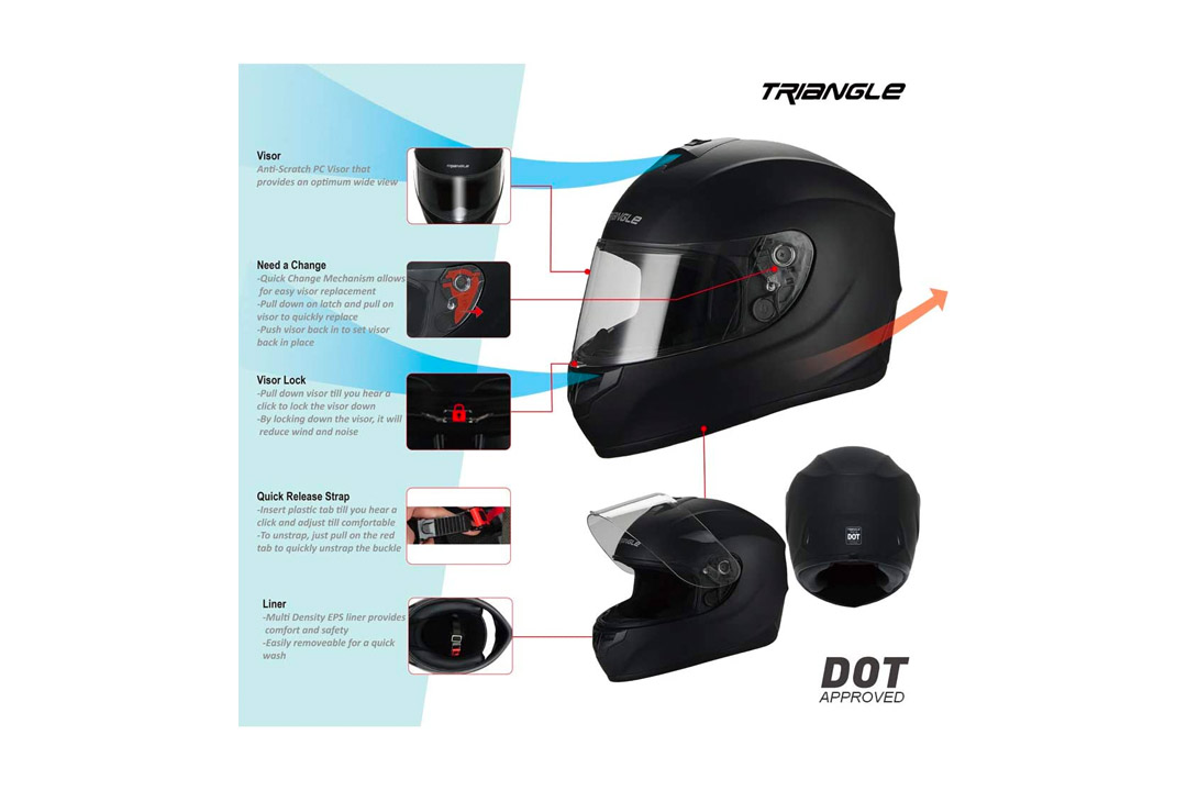 Triangle Motorcycle Helmets Full Face Cover
