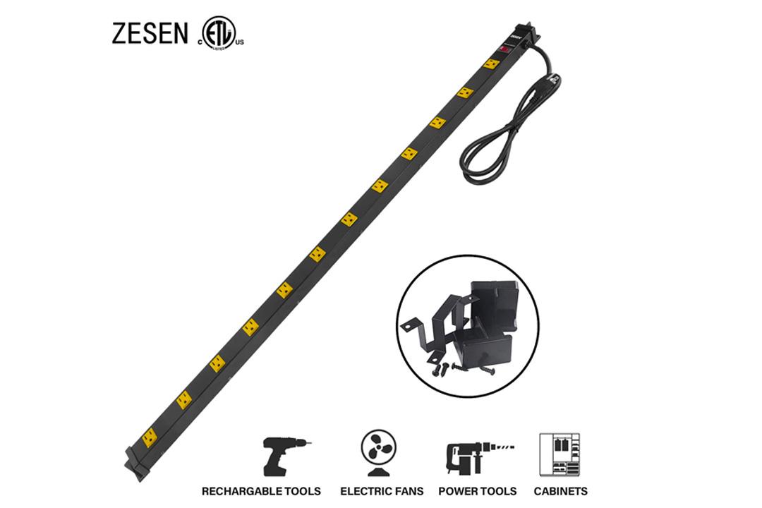 ZESEN 12 Outlet Heavy Duty Workshop Metal Power Strip