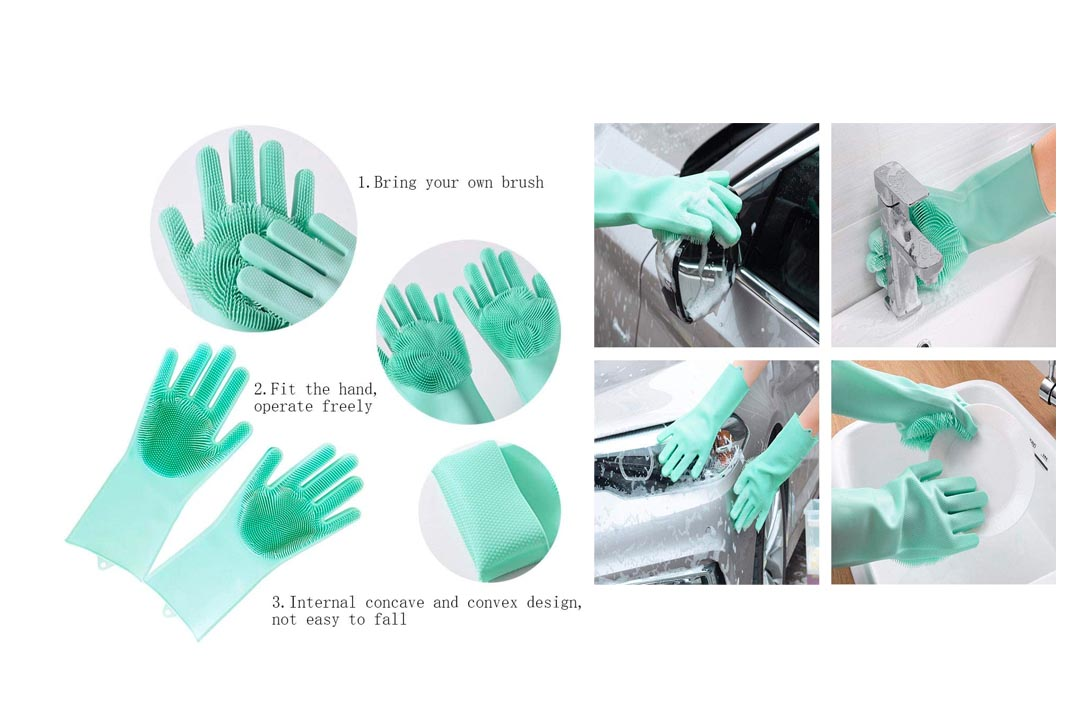 Cleaning Sponge Gloves, Silicone Reusable Cleaning Brush Heat Resistant Scrubber Gloves