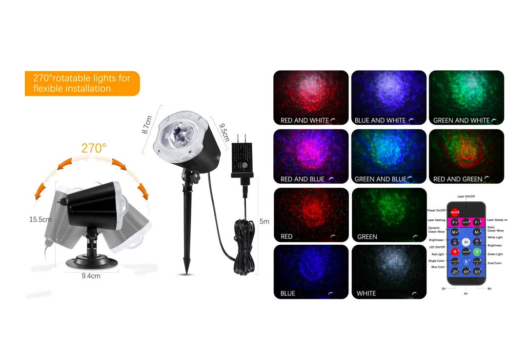 ECOWHO LED Star 2-In 1 Christmas Projector Light