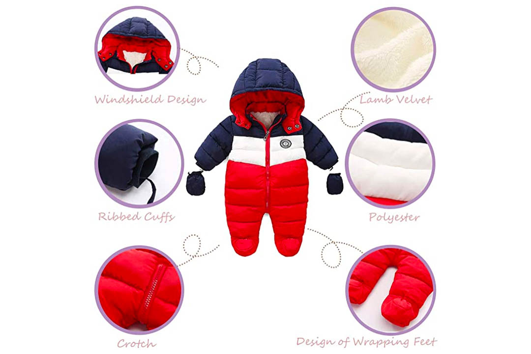 Ruiming Newborn baby snowsuit Infant Winter Coat Hooded Jumpsuit