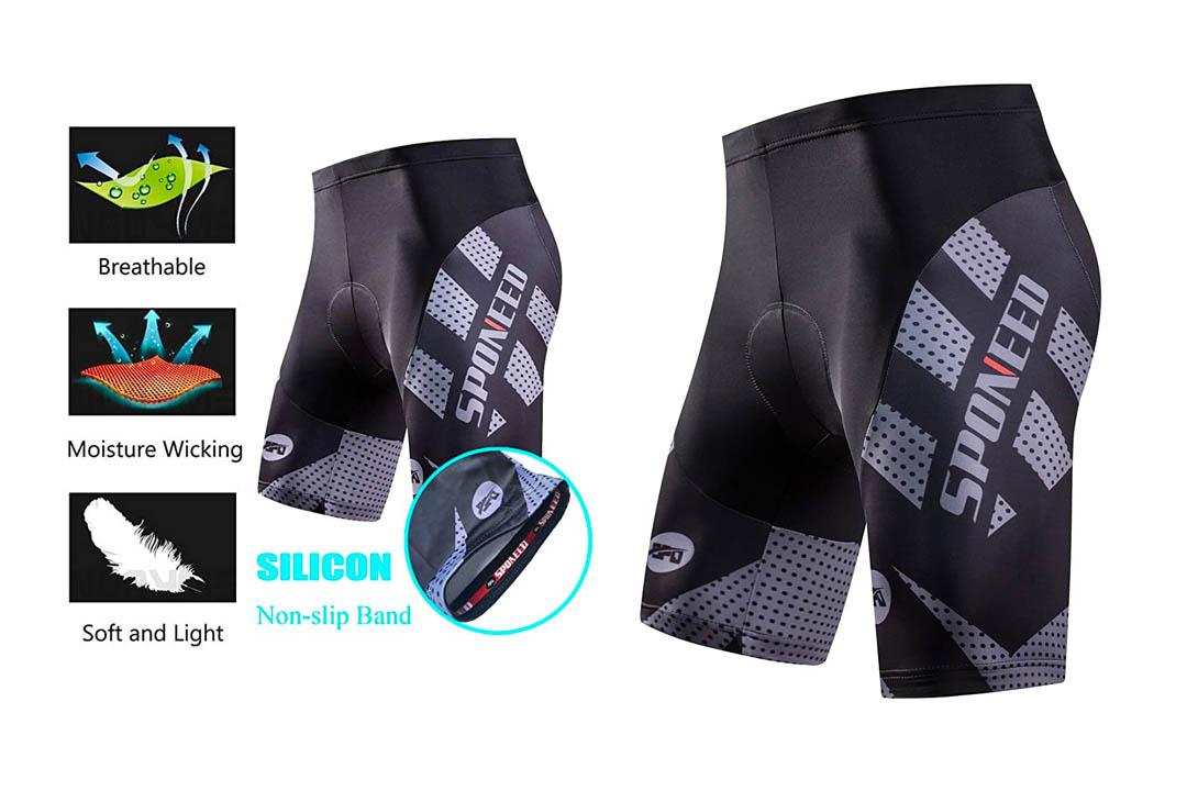 Sponeed Men's Cycling Shorts Padded Bicycle Riding Pants
