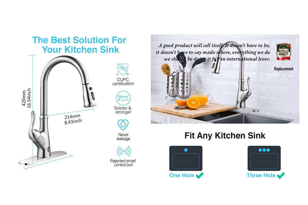 Touch-less Kitchen Faucet with Pull Sprayer