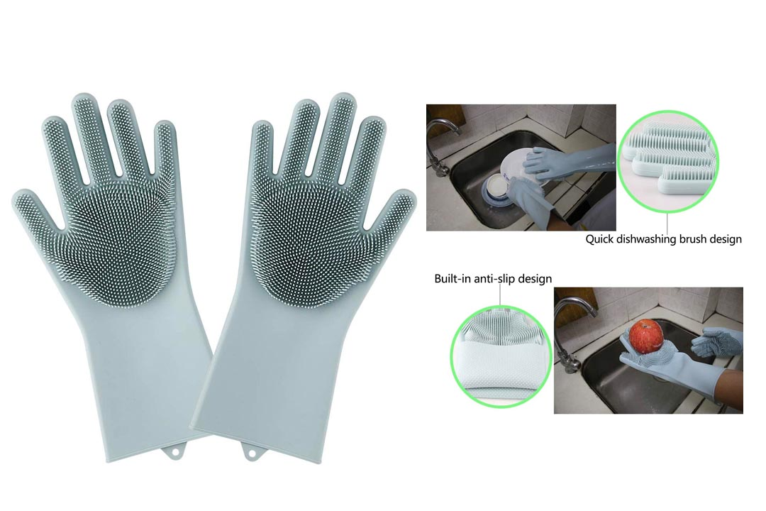 Magic Saksak Silicone Gloves Dishwashing Cleaning Brush Scrubber