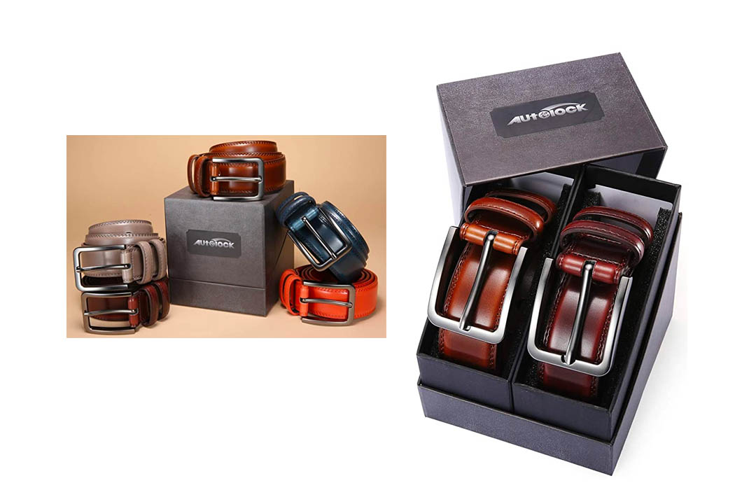 Mens Belt - Autolock Genuine Leather Dress Belt