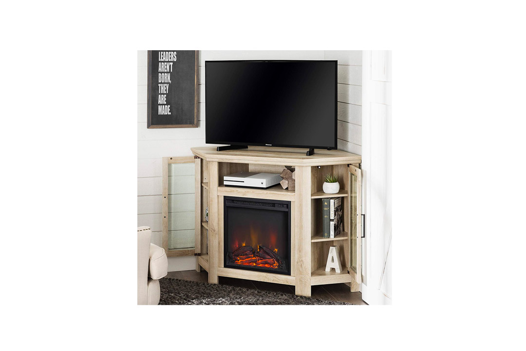 New 48 Inch Wide Corner Fireplace Television Stand