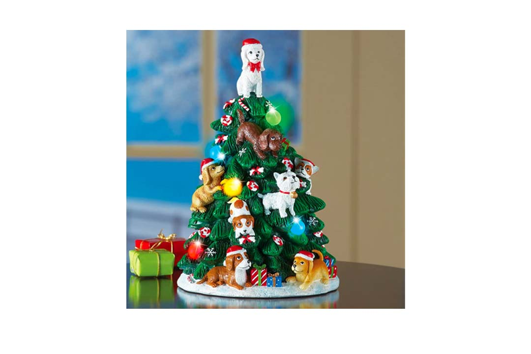 Collections Etc. Dog Lighted Christmas Tree